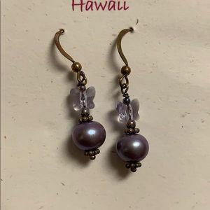 New purple butterfly & pearl-like earrings